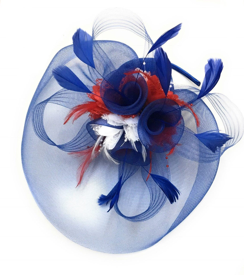 Caprilite Big Royal Blue, Red and White Union Jack Fascinator Hat Veil Net Ascot Derby Races Wedding Headband Alice Band Feather Flower