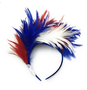 Caprilite Blue Red & White Union Jack Fluffy Feather Fascinator on Headband Alice Band Royal Wedding Party Ascot Races Loop Net