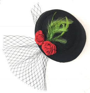 Caprilite Black Pillbox Red Roses Green Feather Leaves Fascinator Hat with Veil Hatinator UK Wedding Ascot Races Clip Felt Handmade