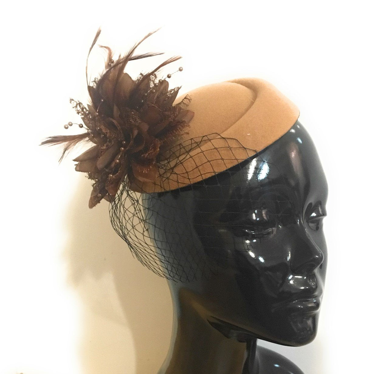 Caprilite Camel Brown Beige Fascinator Hat Pill Box Black Veil Hatinator UK Wedding Ascot Races Clip Felt