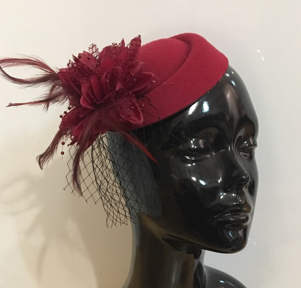 Caprilite Burgundy Wine Red Fascinator Hat Pill Box Flower Black Veil Hatinator UK Wedding Ascot Races Clip Felt