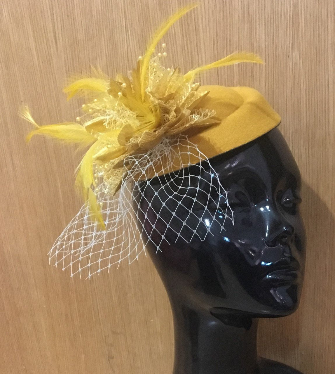 Caprilite Mustard Yellow and Gold Fascinator Hat Pill Box Flower White Veil Hatinator UK Wedding Ascot Races Clip Felt