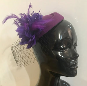 Caprilite Cadbury Purple Fascinator Hat Pill Box Flower Black Veil Hatinator UK Wedding Ascot Races Clip Felt