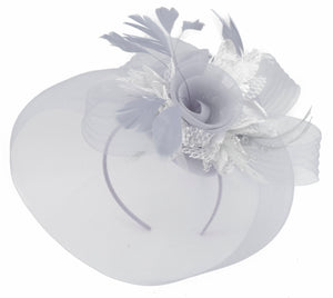 Caprilite Grey Silver Fascinator on Headband Veil UK Wedding Ascot Races Hatinator
