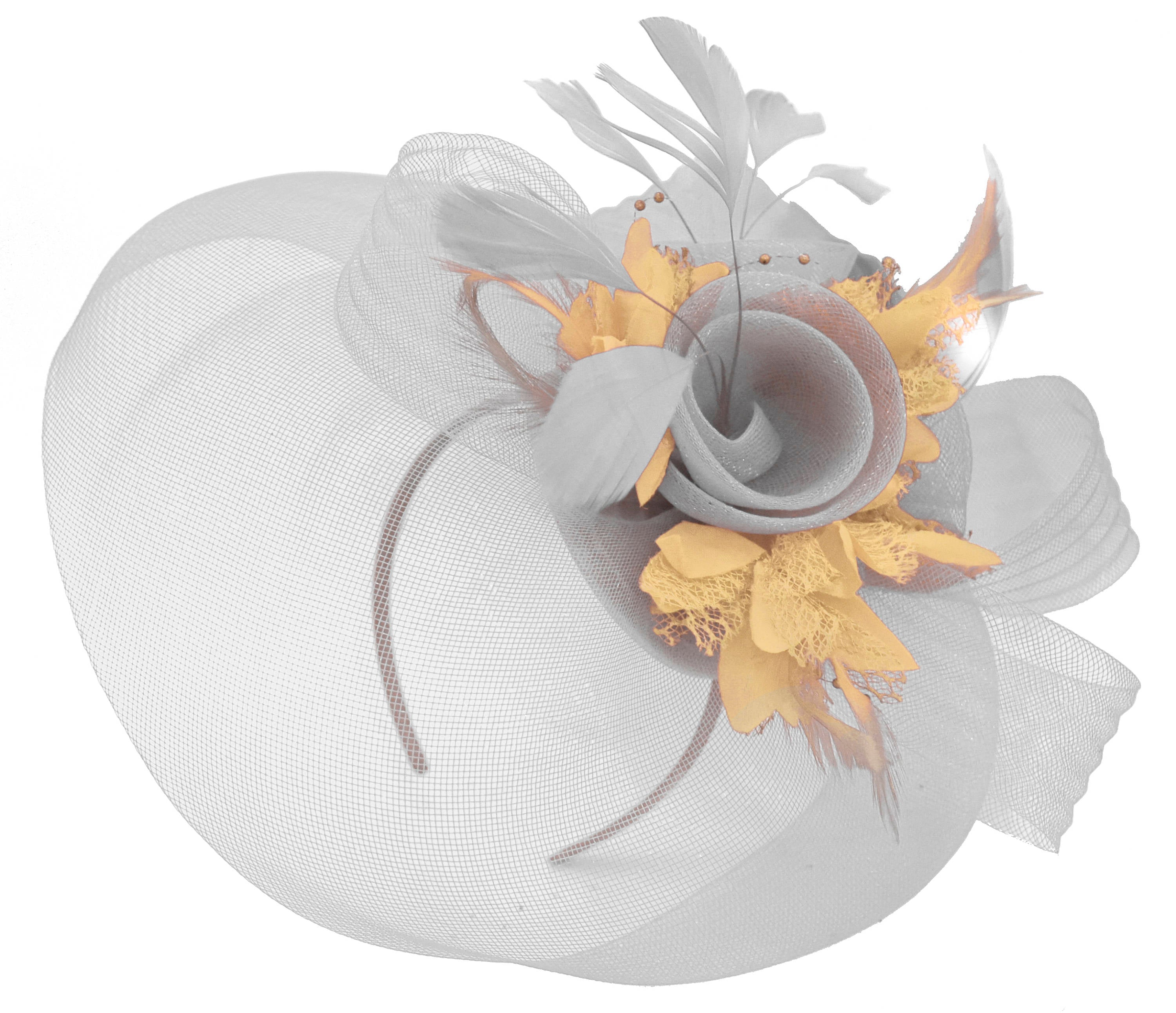 Caprilite Grey Silver and Beige Fascinator on Headband Veil UK Wedding Ascot Races Hatinator