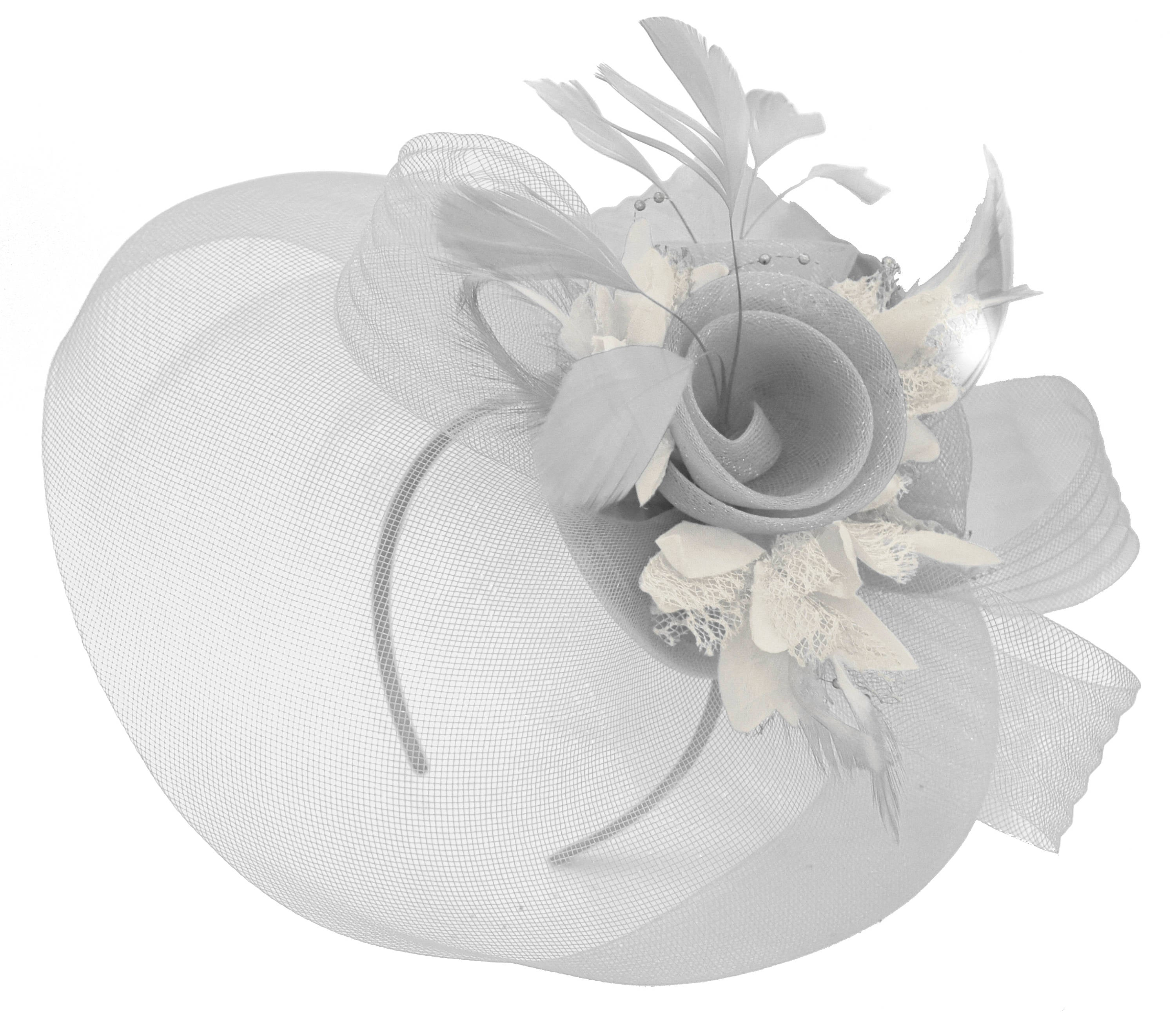 Caprilite Grey Silver and Cream Ivory Fascinator on Headband Veil UK Wedding Ascot Races Hatinator