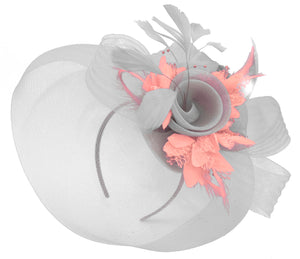 Caprilite Grey Silver and Peach Pink Fascinator on Headband Veil UK Wedding Ascot Races Hatinator