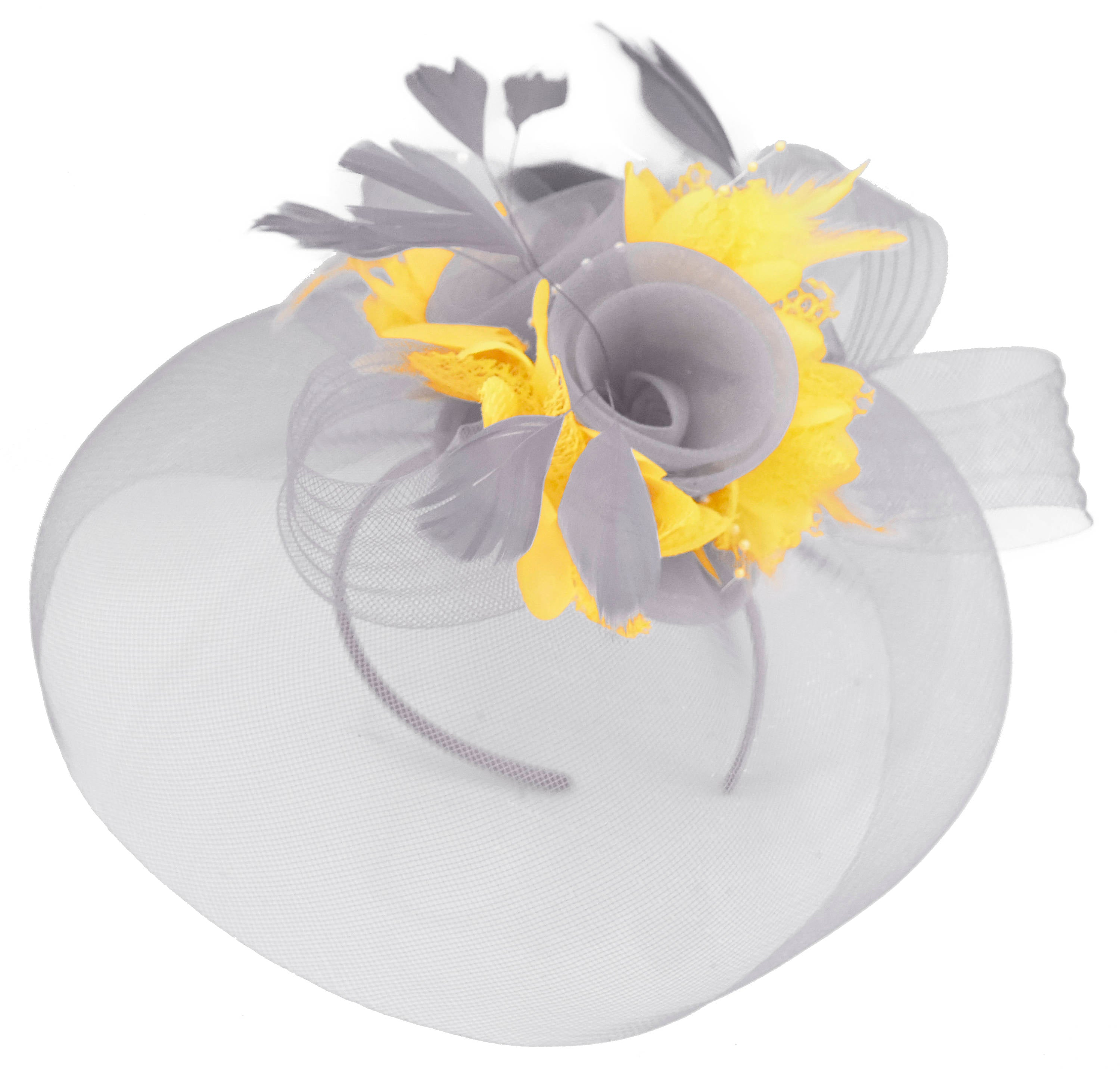 Caprilite Grey Silver and Yellow Fascinator on Headband Veil UK Wedding Ascot Races Hatinator
