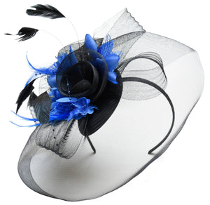 Caprilite Big Black and Royal Blue Fascinator Hat Veil Net Hair Clip Ascot Derby Races Wedding Headband Feather Flower