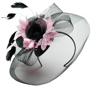 Caprilite Big Black and Baby Pink Fascinator Hat Veil Net Hair Clip Ascot Derby Races Wedding Headband Feather Flower
