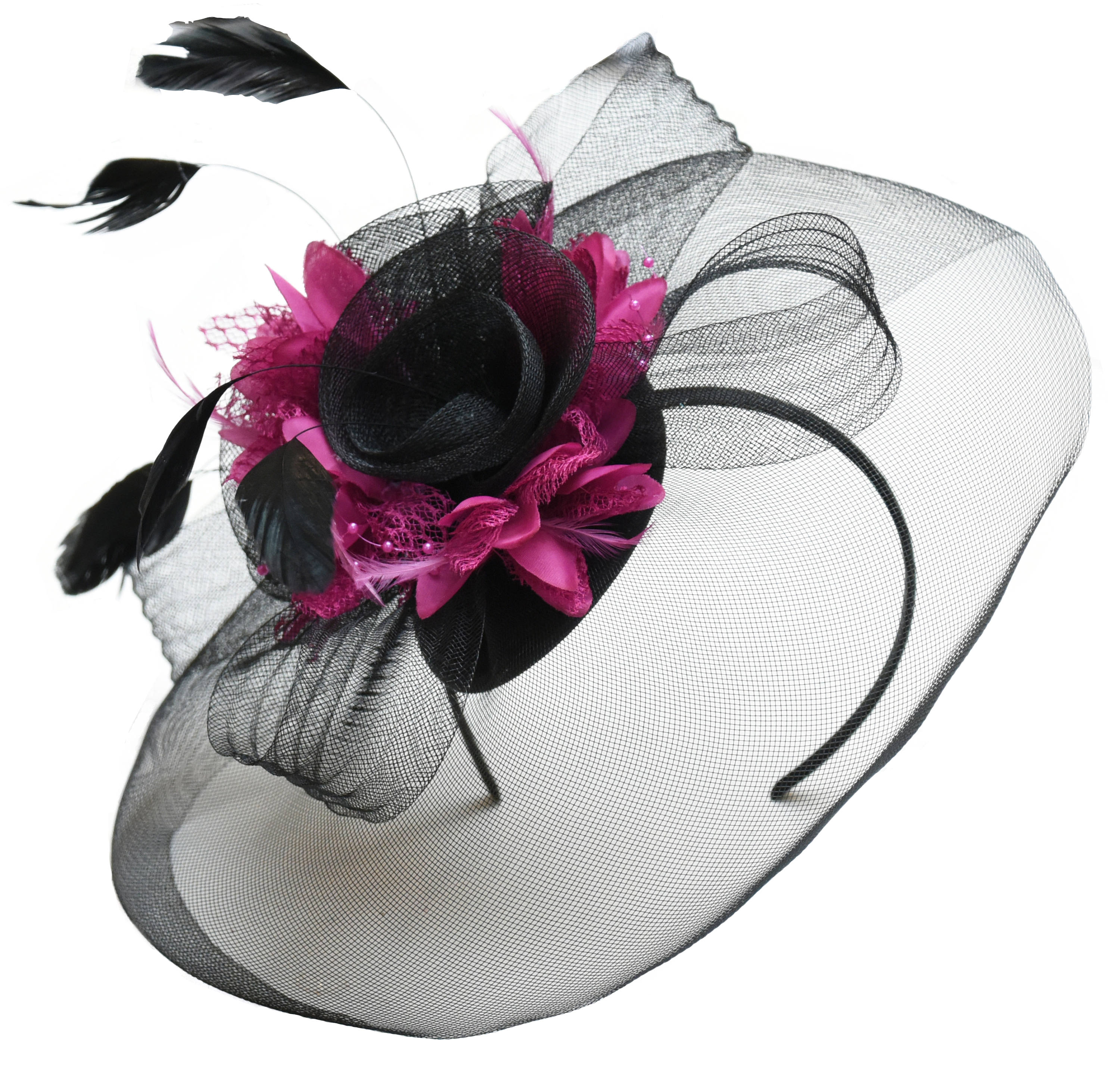 Caprilite Big Black and Fuchsia Hot Pink Fascinator Hat Veil Net Hair Clip Ascot Derby Races Wedding Headband Feather Flower