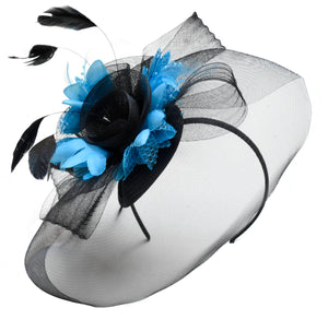 Caprilite Big Black and Aqua Fascinator Hat Veil Net Hair Clip Ascot Derby Races Wedding Headband Feather Flower