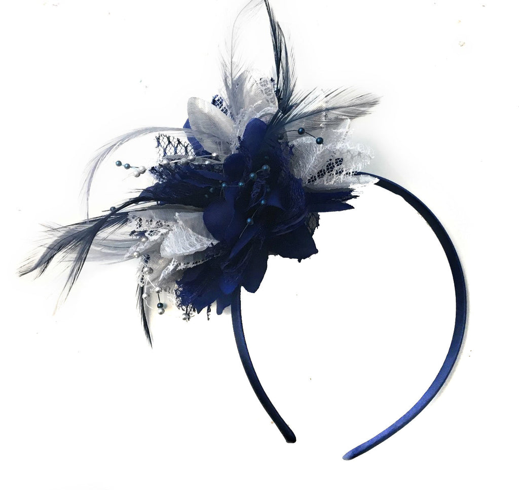 Caprilite Navy and Silver Fascinator Headband Hair Band Flower Corsage