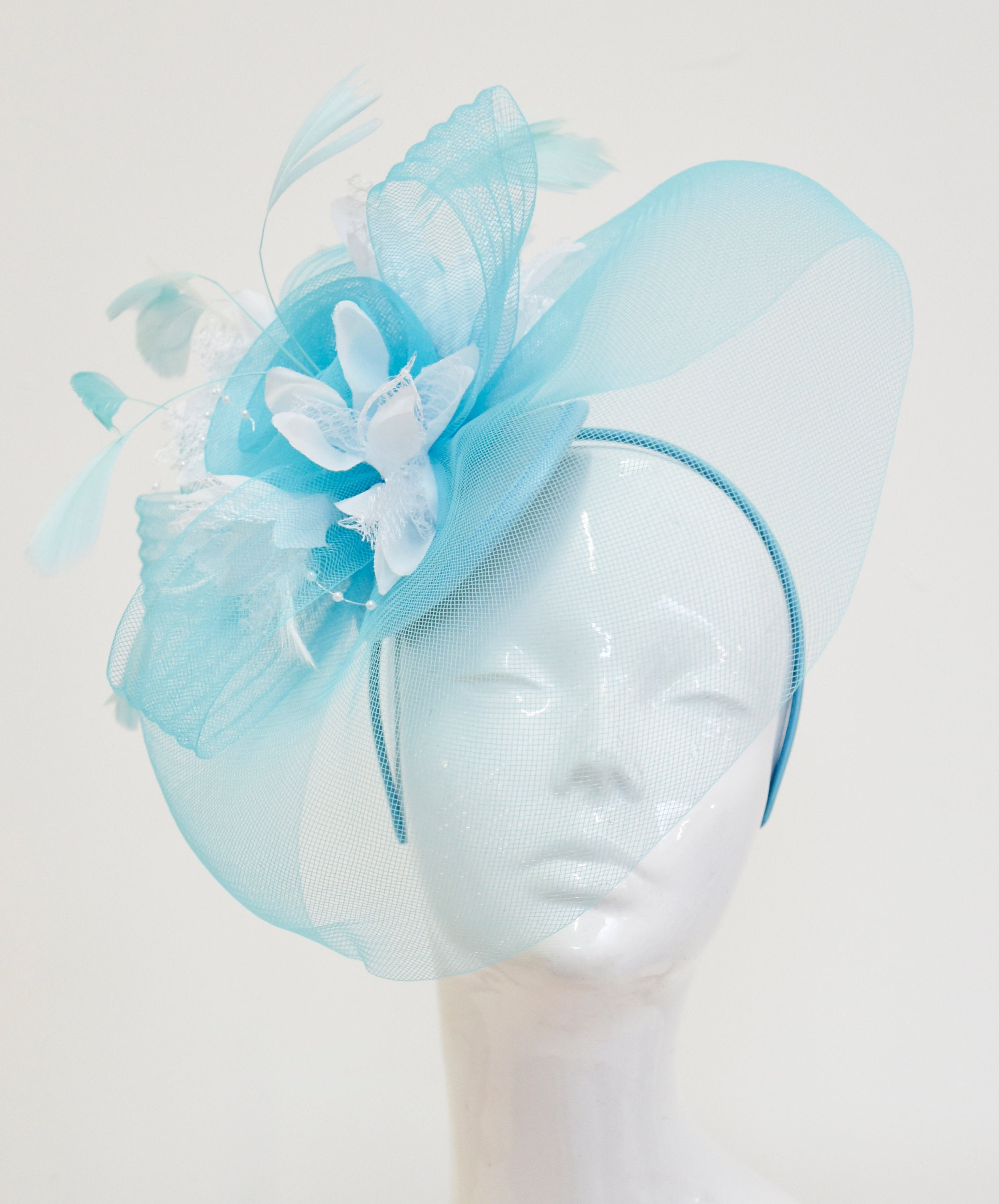 Caprilite Big Light Turquoise Blue and White Fascinator Hat Veil Net Hair Clip Ascot Derby Races Wedding Headband Feather Flower