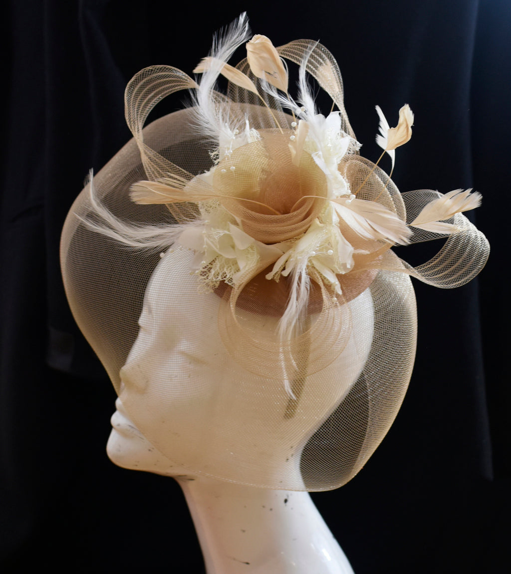 Caprilite Beige Camel and Cream Ivory Fascinator Hat Veil Net Hair Clip Ascot Derby Races Wedding Headband Feather Flower