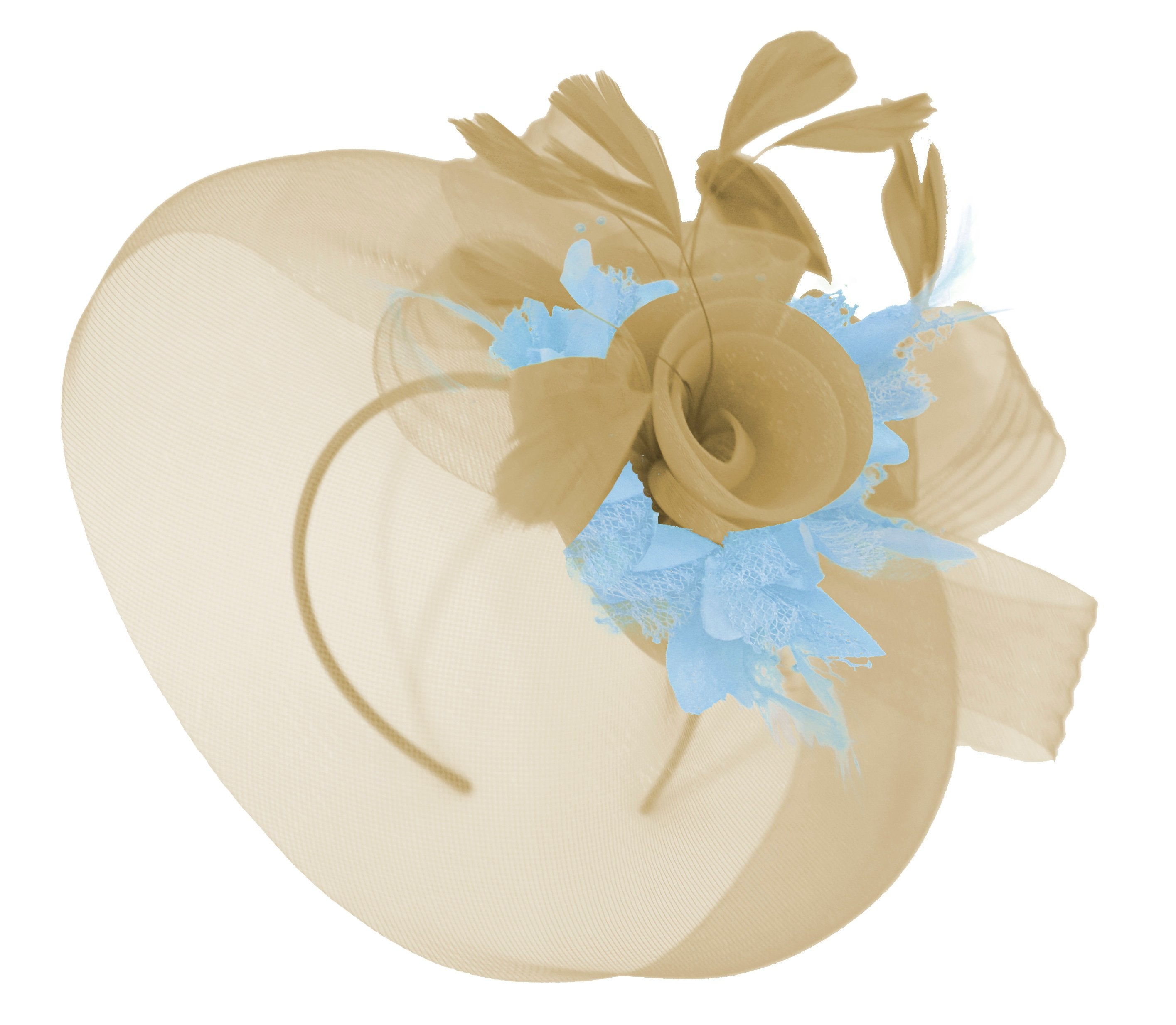 Caprilite Beige Camel and Baby Blue Fascinator Hat Veil Net Hair Clip Ascot Derby Races Wedding Headband Feather Flower
