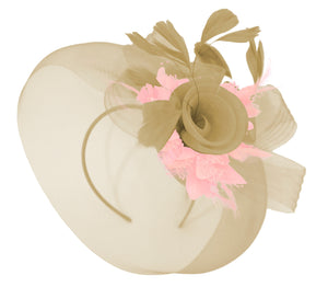 Caprilite Beige Camel and Baby Pink Fascinator Hat Veil Net Hair Clip Ascot Derby Races Wedding Headband Feather Flower