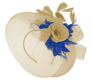 Caprilite Beige Camel and Royal Blue Fascinator Hat Veil Net Hair Clip Ascot Derby Races Wedding Headband Feather Flower