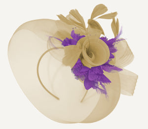 Caprilite Beige Camel and Cadbury Purple Fascinator Hat Veil Net Hair Clip Ascot Derby Races Wedding Headband Feather Flower