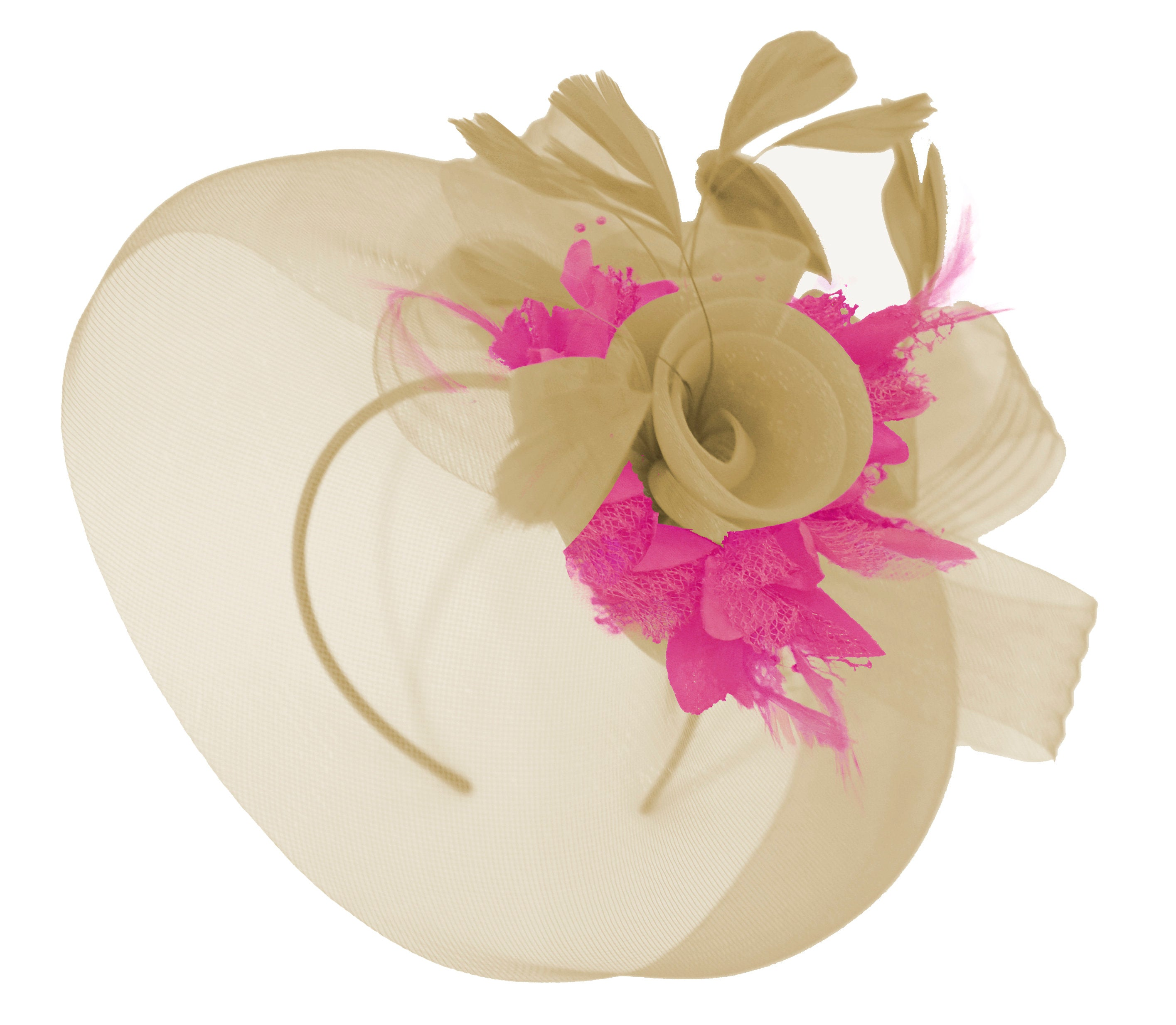 Caprilite Beige Camel and Fuchsia Fascinator Hat Veil Net Hair Clip Ascot Derby Races Wedding Headband Feather Flower