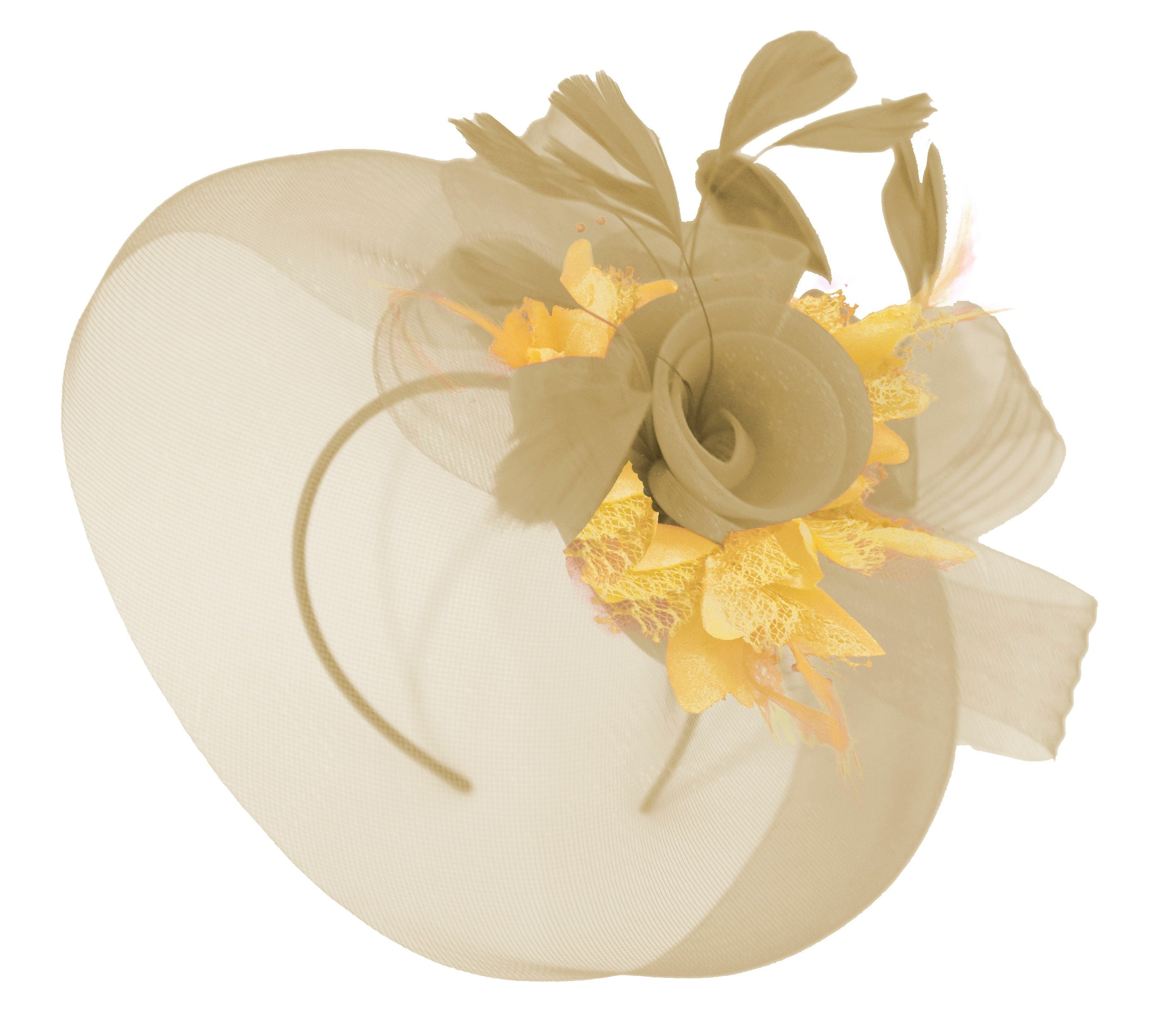 Caprilite Beige Camel and Gold Fascinator Hat Veil Net Hair Clip Ascot Derby Races Wedding Headband Feather Flower