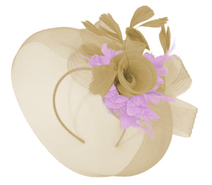 Caprilite Beige Camel and Lilac Fascinator Hat Veil Net Hair Clip Ascot Derby Races Wedding Headband Feather Flower