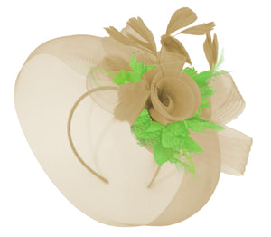 Caprilite Beige Camel and Lime Green Fascinator Hat Veil Net Hair Clip Ascot Derby Races Wedding Headband Feather Flower