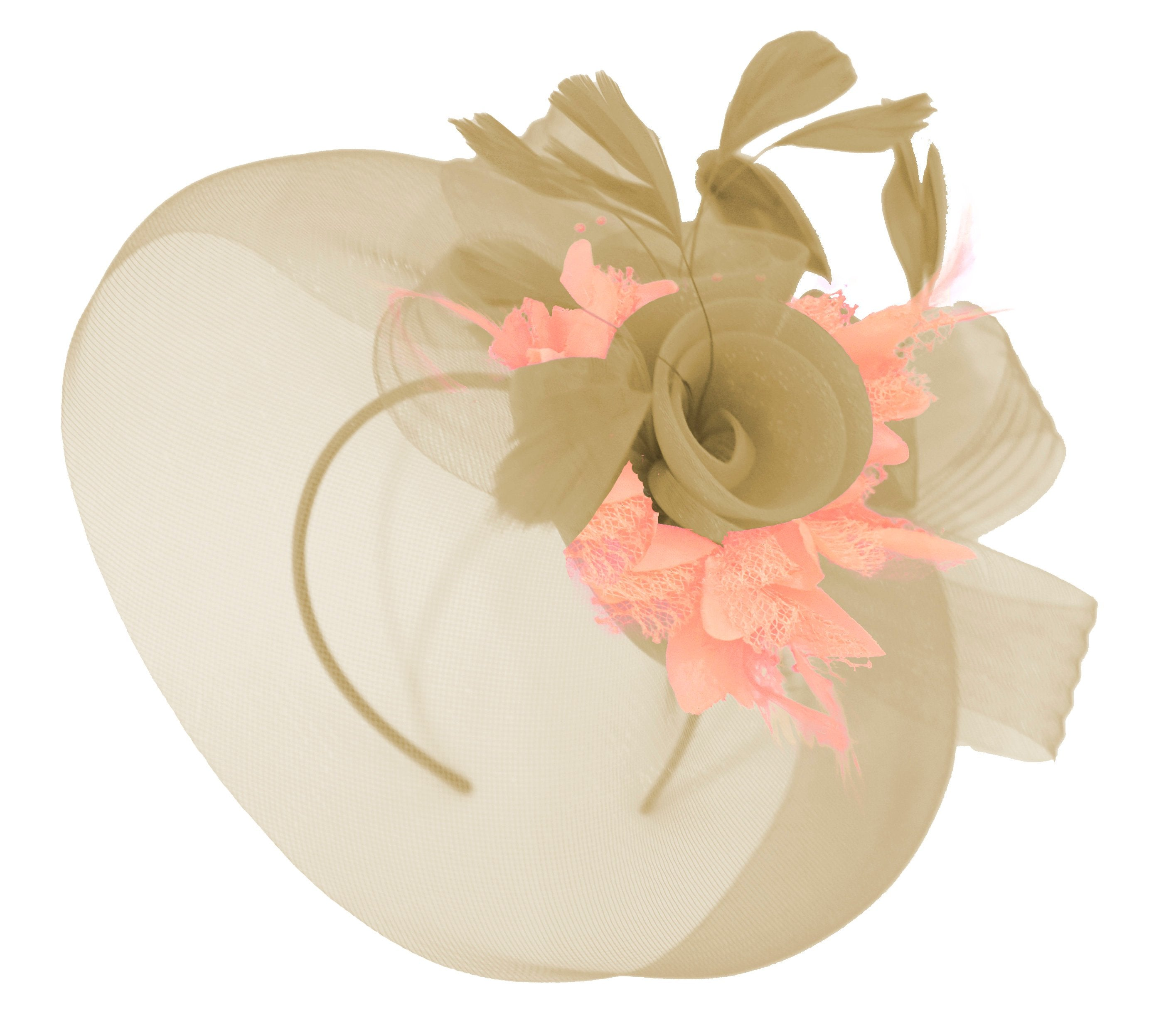 Caprilite Beige Camel and Peach Nude Fascinator Hat Veil Net Hair Clip Ascot Derby Races Wedding Headband Feather Flower