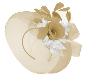 Caprilite Beige Camel and White Fascinator Hat Veil Net Hair Clip Ascot Derby Races Wedding Headband Feather Flower