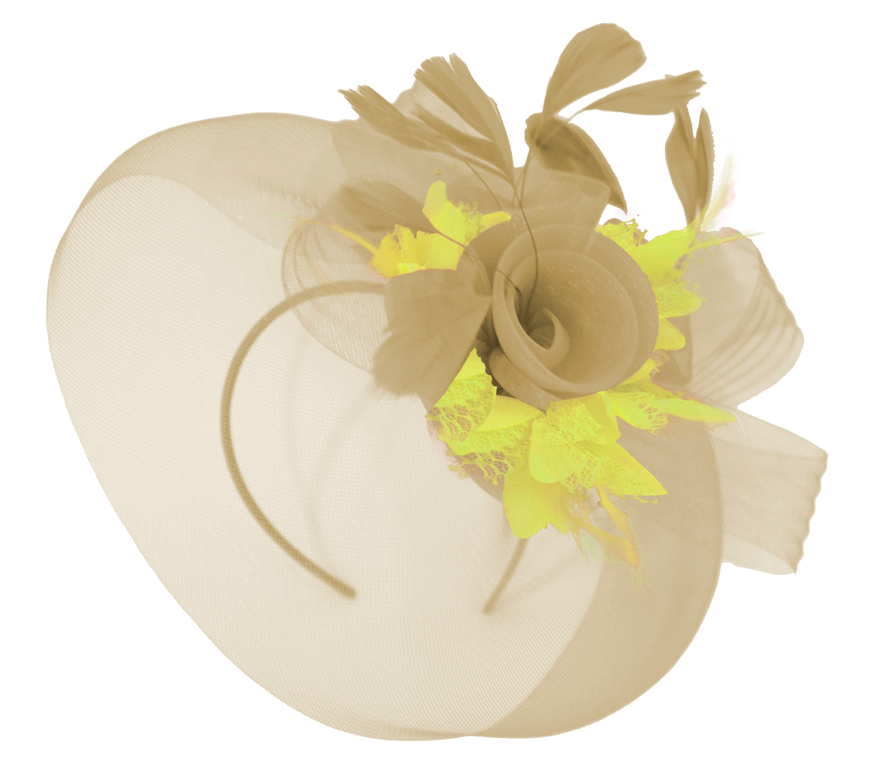 Caprilite Beige Camel and Yellow Fascinator Hat Veil Net Hair Clip Ascot Derby Races Wedding Headband Feather Flower