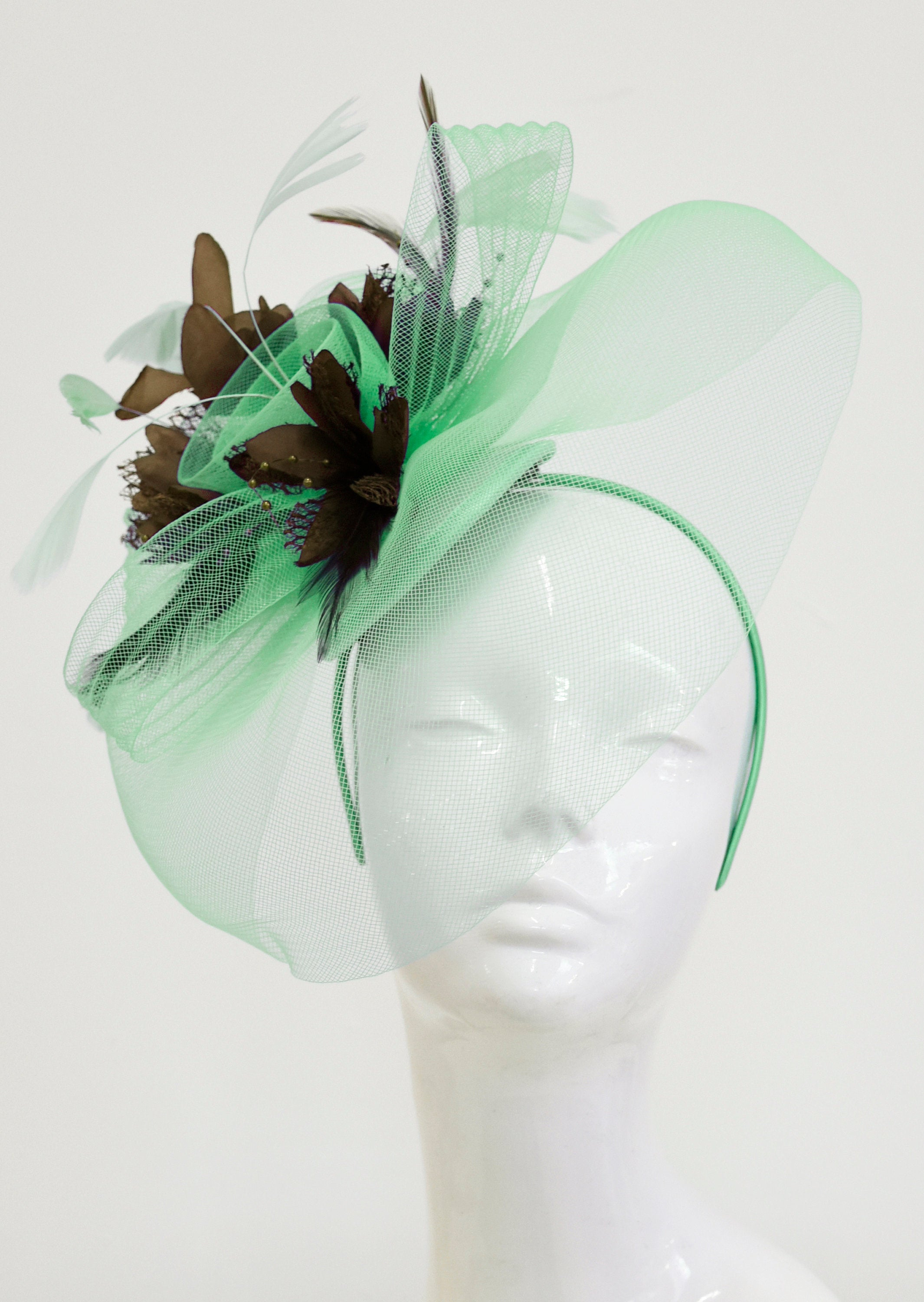 Caprilite Big Mint Green and Brown Fascinator Hat Veil Net Ascot Derby Races Wedding Headband Feather