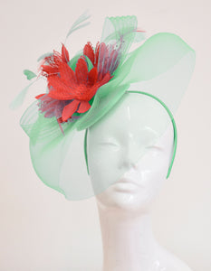 Caprilite Big Mint Green and Coral Fascinator Hat Veil Net Ascot Derby Races Wedding Headband Feather