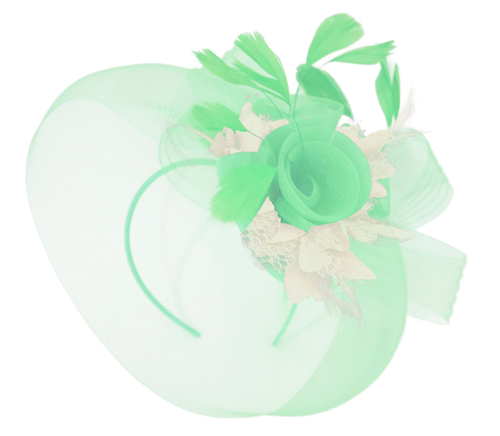 Caprilite Big Mint Green and Cream Ivory Fascinator Hat Veil Net Ascot Derby Races Wedding Headband Feather