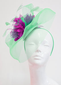 Caprilite Big Mint Green and Fuchsia Hot Pink Fascinator Hat Veil Net Ascot Derby Races Wedding Headband Feather