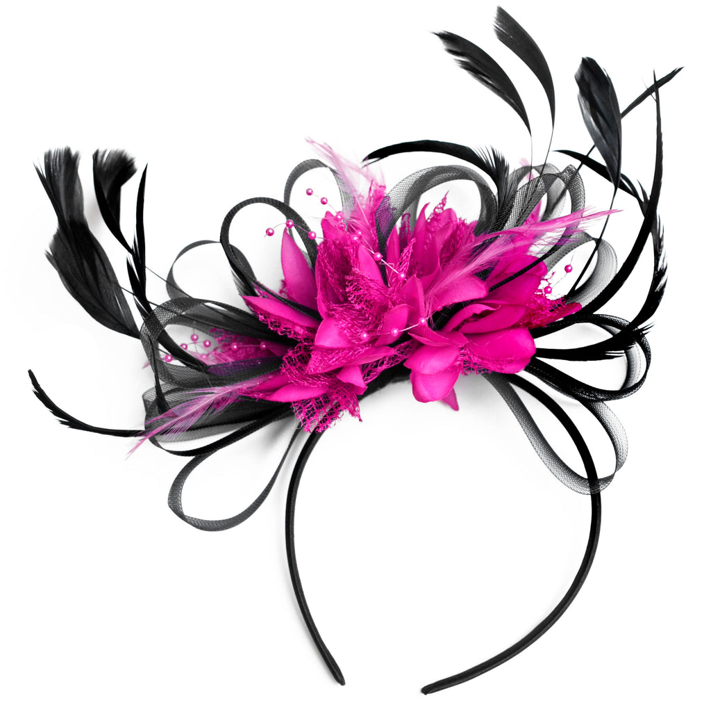 Caprilite Black & Fuchsia Pink Fascinator Headband Wedding Ascot   Races Loop Net