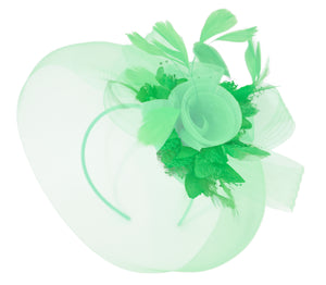 Caprilite Big Mint Green and Grass Fascinator Hat Veil Net Ascot Derby Races Wedding Headband Feather