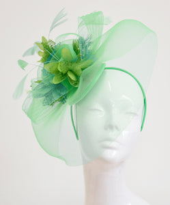 Caprilite Big Mint Green and Lime Fascinator Hat Veil Net Ascot Derby Races Wedding Headband Feather