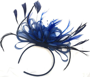 Caprilite Navy Blue and Royal Blue Net Hoop & Feathers Fascinator On Headband Wedding