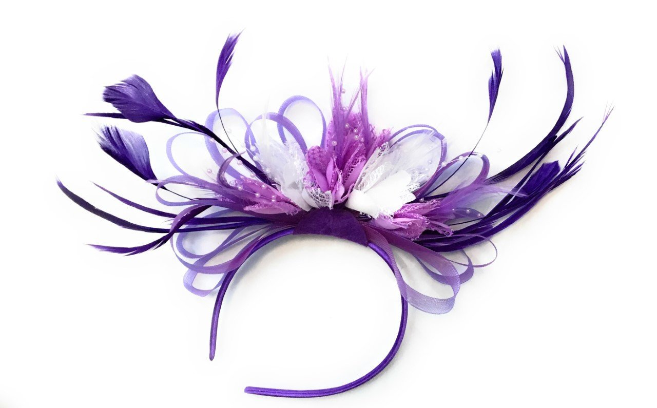 Caprilite Cadbury Purple, Lilac Light Purple & White Fascinator on Headband Alice Band Wedding Ascot Races Loop Net