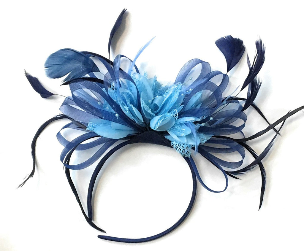 Caprilite Navy Blue Hoop & Baby Light Blue Light Cornflower Blue Feathers Fascinator Headband Ascot Wedding