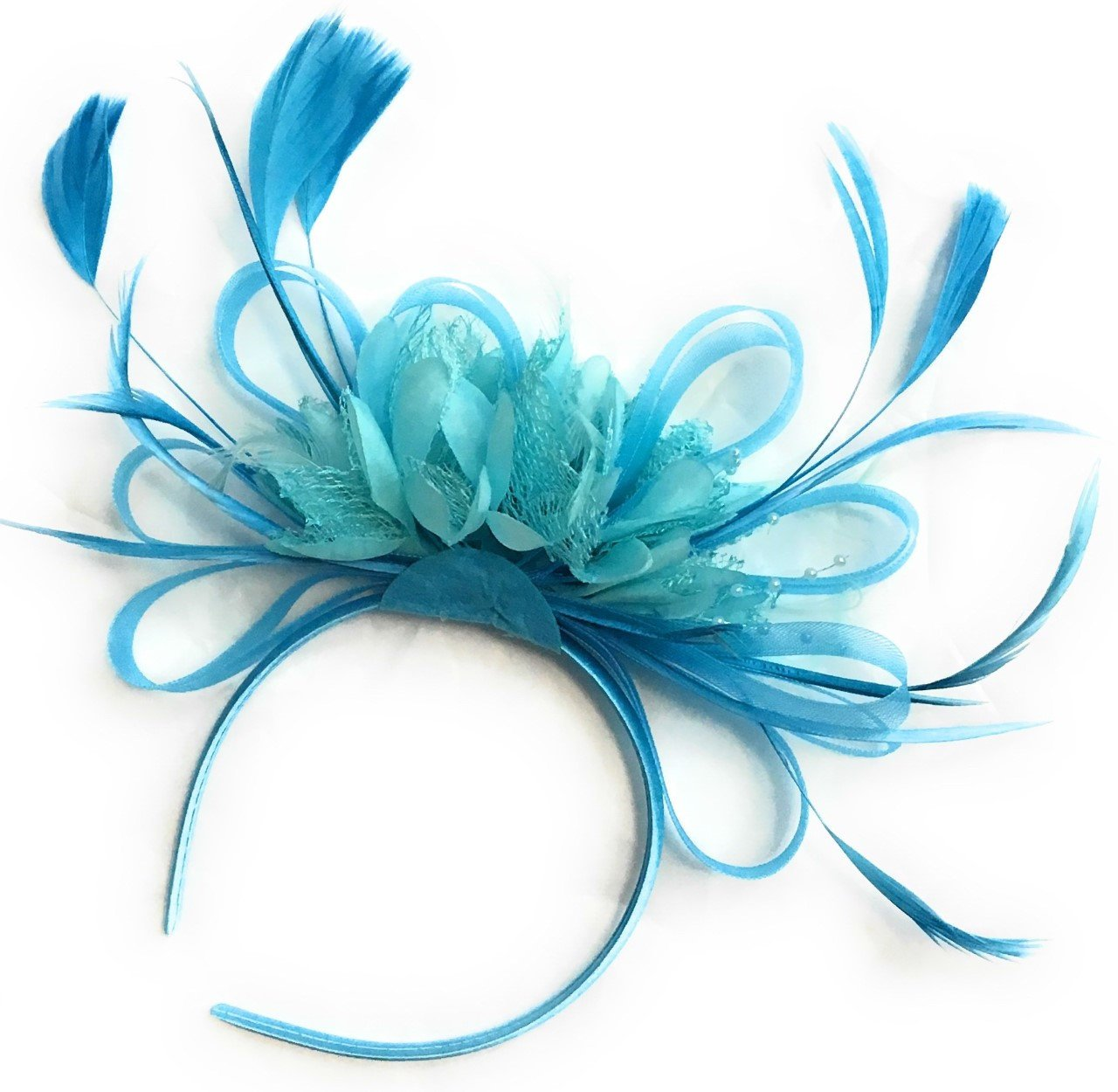 Caprilite Light Turquoise Fascinator on Headband Alice Band UK Wedding Ascot Races