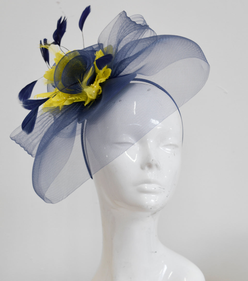 Caprilite Big Navy and Yellow Fascinator Hat Veil Net Hair Clip Ascot Derby Races Wedding Headband Feather Flower