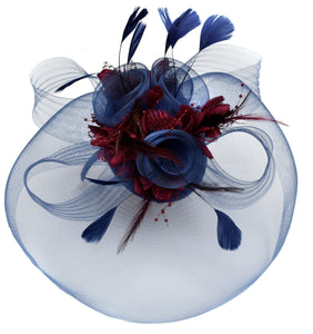 Caprilite Big Navy and Brugundy Fascinator Hat Veil Net Hair Clip Ascot Derby Races Wedding Headband Feather Flower
