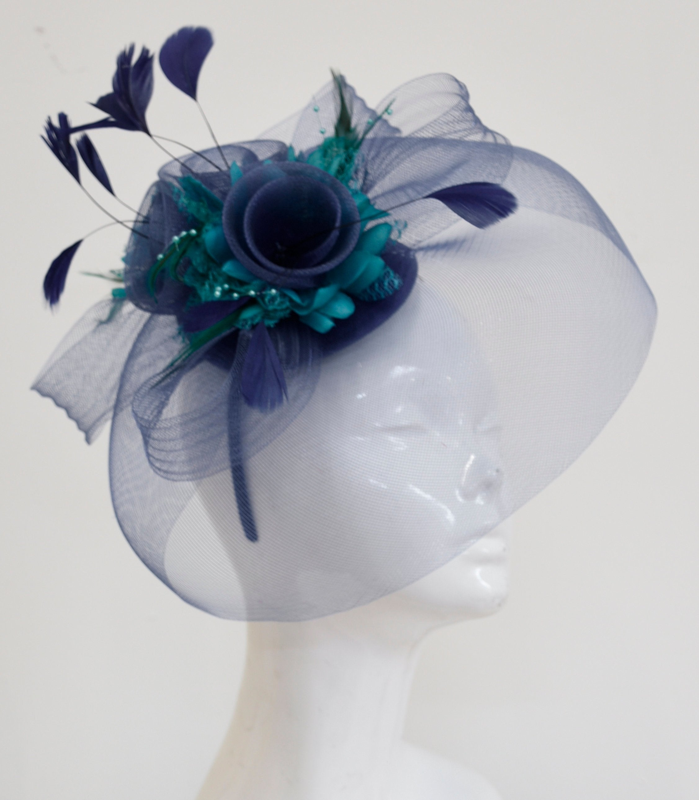 Caprilite Big Navy and Turquoise Teal Fascinator Hat Veil Net Hair Clip Ascot Derby Races Wedding Headband Feather Flower