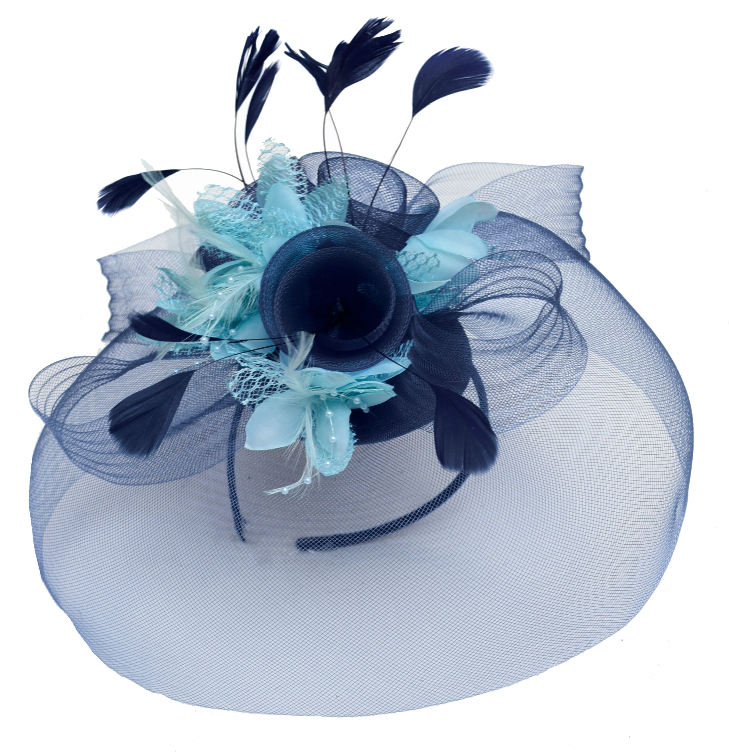 Caprilite Big Navy and Light Aqua Turquoise Fascinator Hat Veil Net Hair Clip Ascot Derby Races Wedding Headband Feather Flower