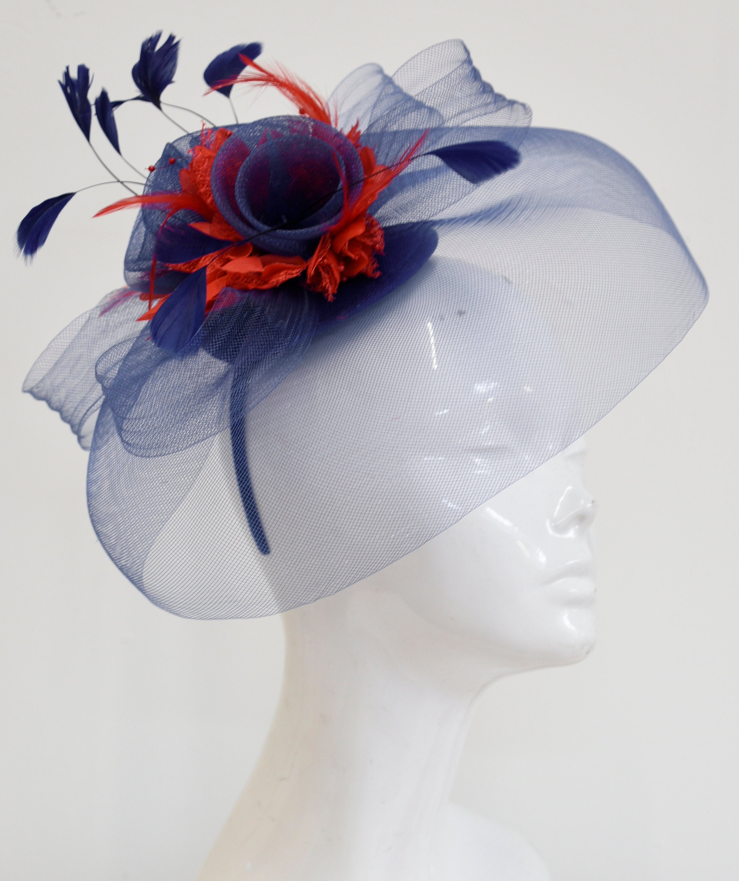 Caprilite Big Navy and Red Fascinator Hat Veil Net Hair Clip Ascot Derby Races Wedding Headband Feather Flower