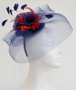 bff6d0d2 Caprilite UK Online | Caprilite Big Navy and Red Fascinator Hat Veil Net  Hair Clip Ascot Der
