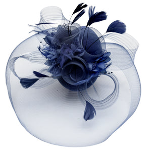 Caprilite Big Navy Fascinator Hat Veil Net Hair Clip Ascot Derby Races Wedding Headband Feather Flower