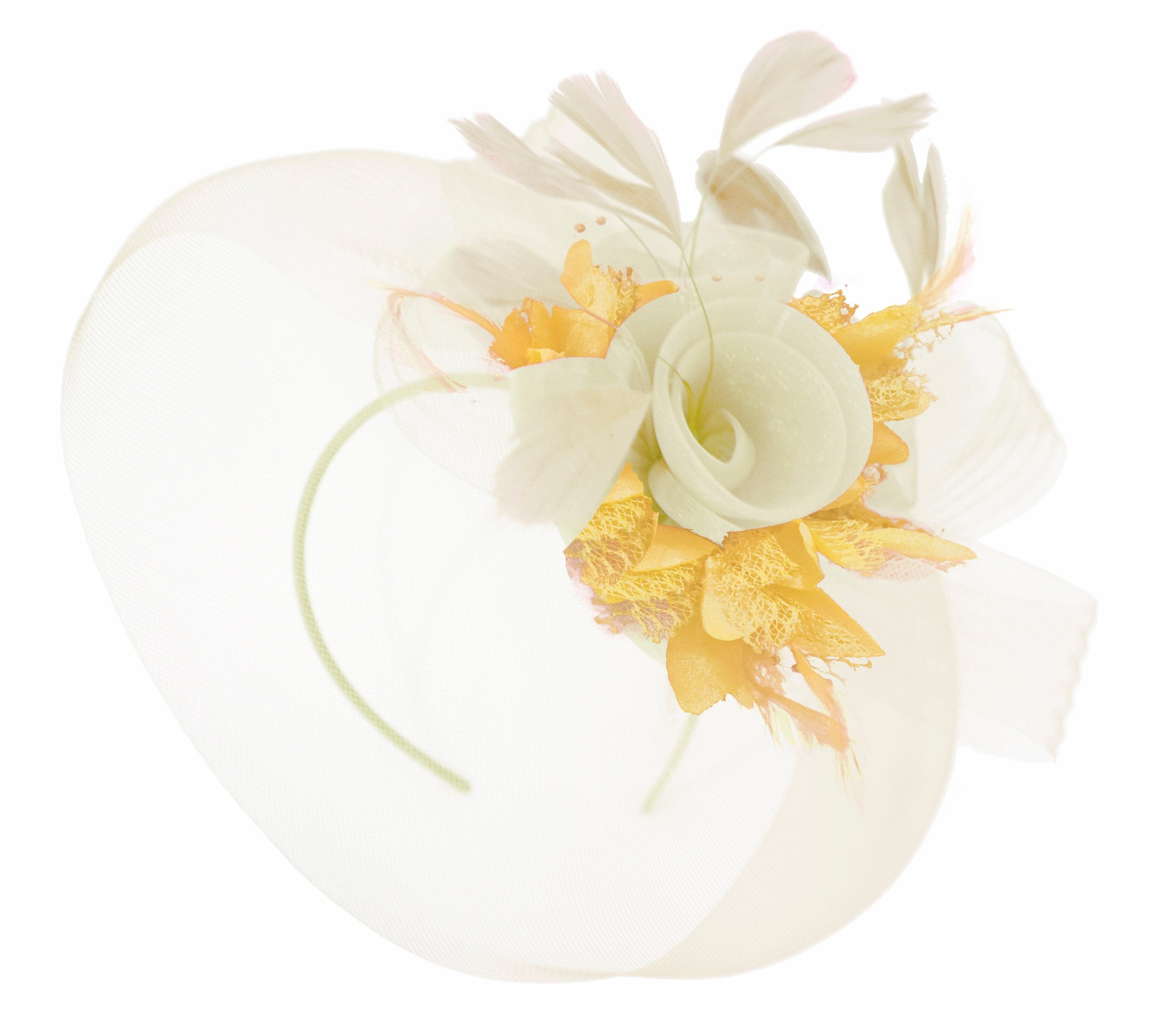 Caprilite Cream and Gold Fascinator on Headband Veil UK Wedding Ascot Races Hatinator Women