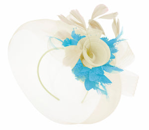 Caprilite Cream and Aqua Fascinator on Headband Veil UK Wedding Ascot Races Hatinator Women